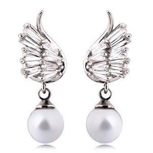 Jewelry - 925 Silver CZ Angel Wing Faux Pearl Earrings